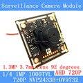 1.0MP 1280*720 P AHD CCTV 3.7 мм Камеры-обскуры Модуль Плате, NVP2433H + OV9732 1000TVL камера PAL/NTSC Дополнительно
