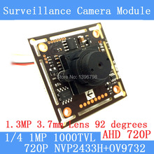 1.0MP 1280 * 720P AHD CCTV 3.7mm pinhole Camera Module Circuit Board, NVP2433H + OV9732 1000TVL camera PAL / NTSC Optional