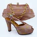 Beautiful peach Italian Shoes With Matching Bags To Match,New African Shoes And Matching Bag Sets For Wedding ! HVB1-67