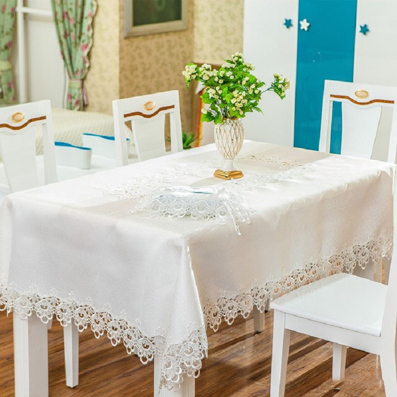 Europe Tablecloth White Embroidered Floral Table Cloth Satin Fabric Square Table  Cover Waterproof 130*180 Manteles Para Mesa