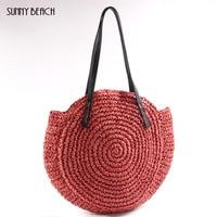 SUNNY BEACH Round Straw Beach Bag Raffia circle Rattan bags Vintage Handmade Woven Shoulder Bag Bohemian Vacation bag