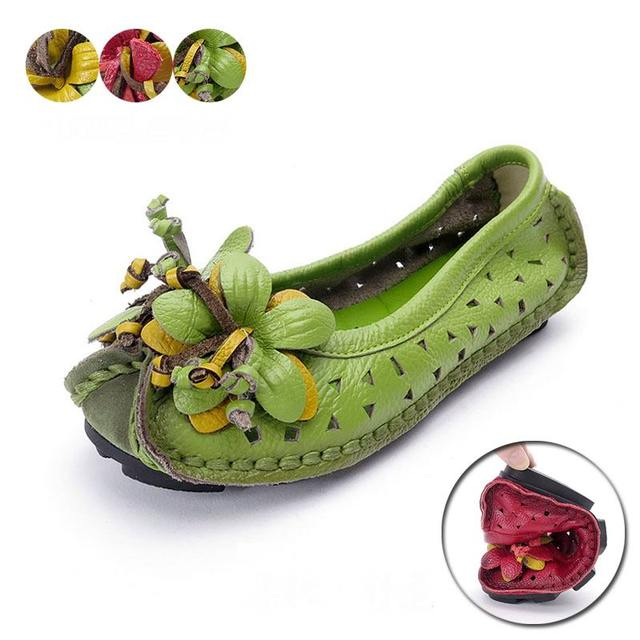 2017 New spring Handmade flower women's shoes genuine leather female moccasins loafers soft outsole casual shoes flats