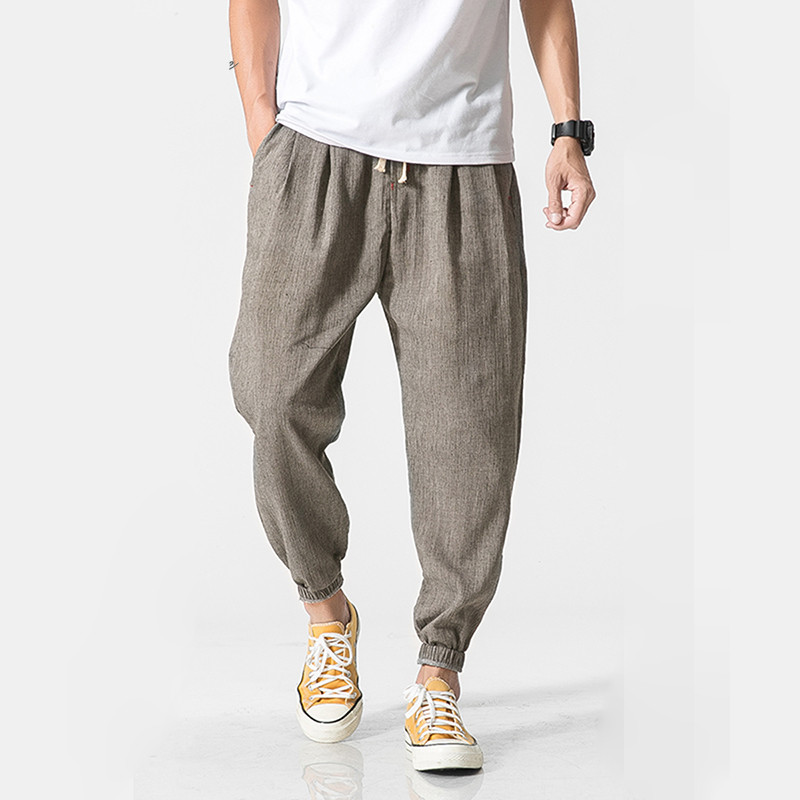 Men Linen Pants  Sweatpants  Casual Harem Pants Men Jogger Pants Men Fitness Trousers Male Chinese Traditional Harajuku