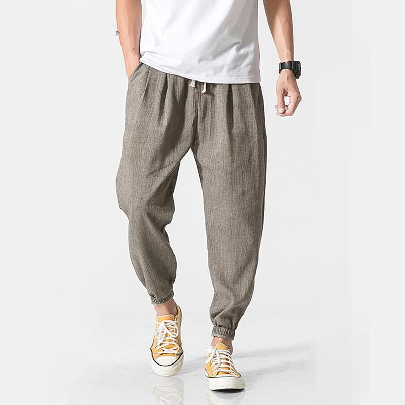 Men Linen Pants  Sweatpants  Casual Harem Pants Men Jogger Pants Men Fitness Trousers Male Chinese Traditional Harajuku
