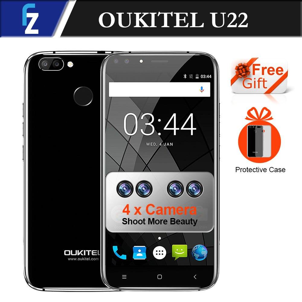 """bilder für Vier Kameras! Oukitel U22 Neue Mobile 3G Smartphone 5,5 """"Android 7.0 2700 mAh FHD MTK6580 Quad Core 13MP Kamera 2 GB 16 GB Touch"""