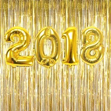 """32inch Gold/Silver Number """"2018"""" Foil Balloon Foil Fringe Curtain Tinsel Happy New Year Eve Party Decoration Celebration Supply"""
