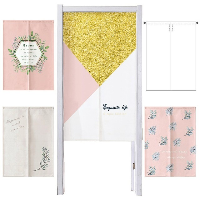 Pink Geometry Flower Printing Curtains Home Decor Fabric Art