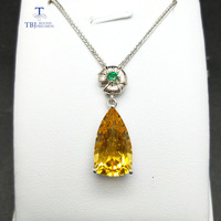 TBJ,classic and elegant pendant in 925 sterling silver with nautral citrine and emerald gemstone pendant for women with gift box