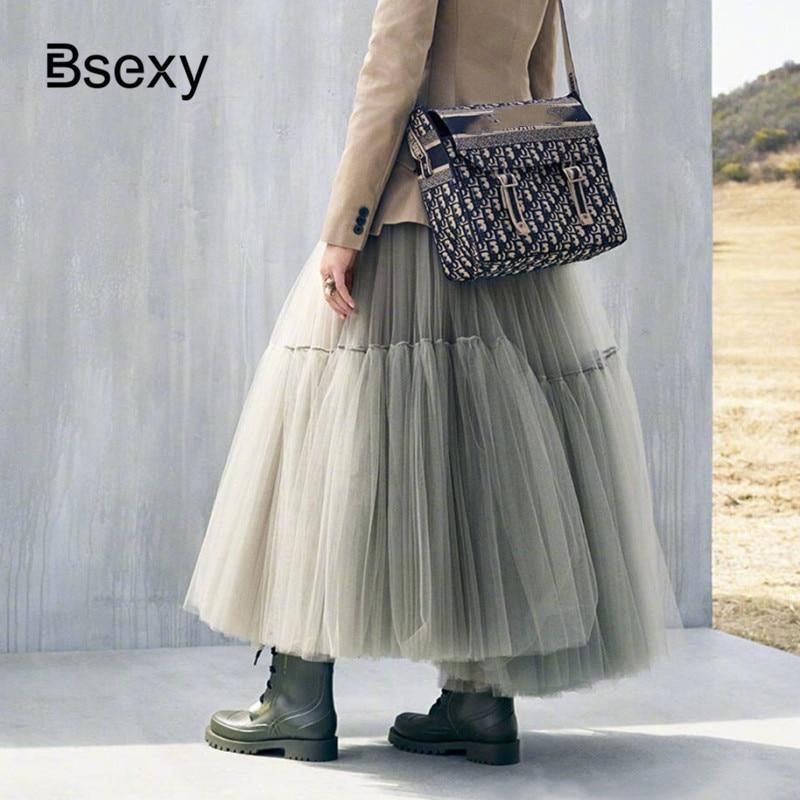 Runway Luxury Women Black Skirts 2019 Fashion Elastic Waist Ball Gown Mesh Skirts Female Long Voile
