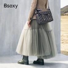 Pista de luxo das mulheres saia preta 2019 moda cintura elástica bola vestido malha saias femininas longo voile maxi saias jupe longue