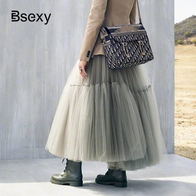 Runway Luxury Women Black Skirt 2019 Fashion Elastic Waist Ball Gown Mesh Skirts Female Long Voile Maxi Skirts jupe longue
