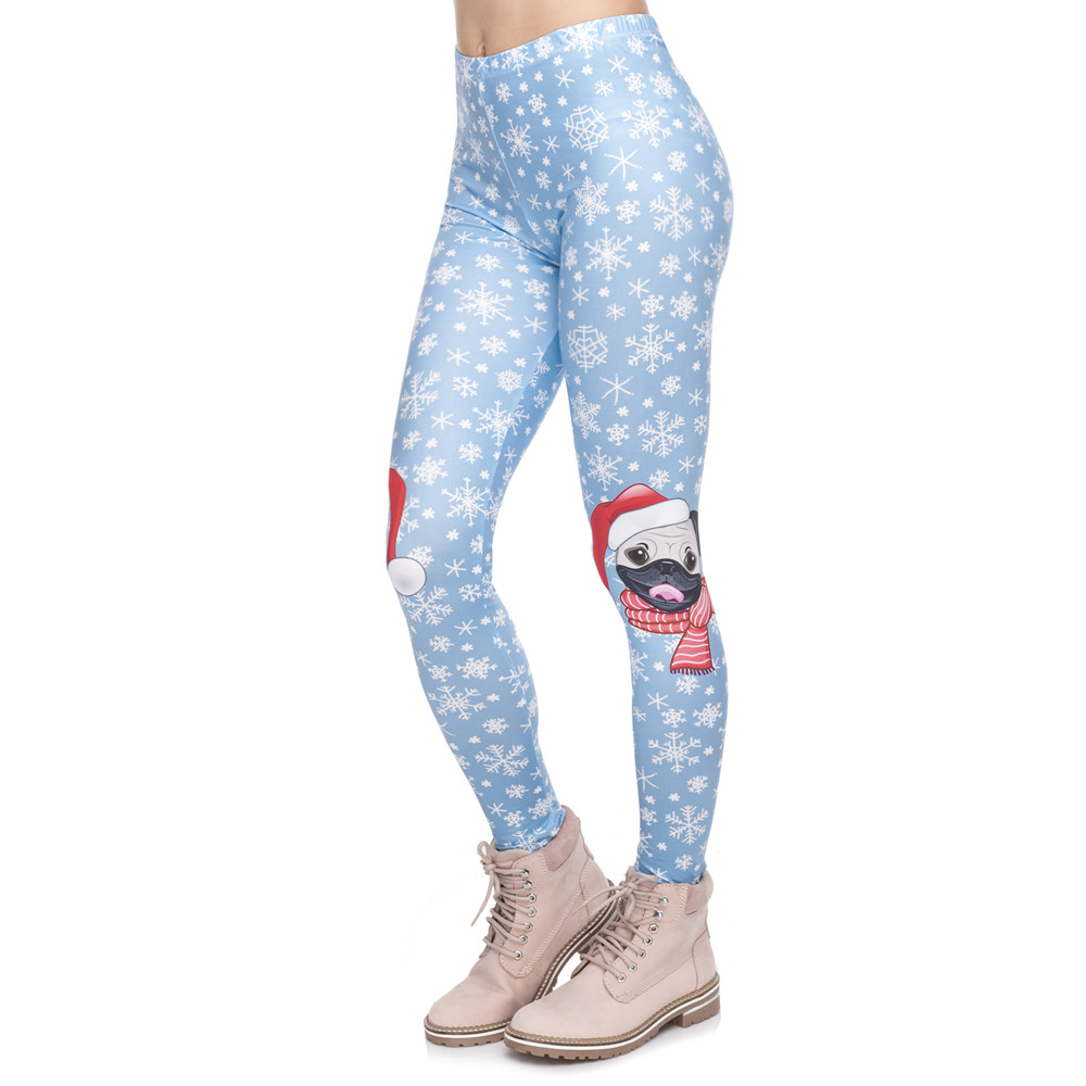Christmas Series Women Legging Pug On Knees Printing Fitness Leggings Fashion High Waist Woman Pants Лосины
