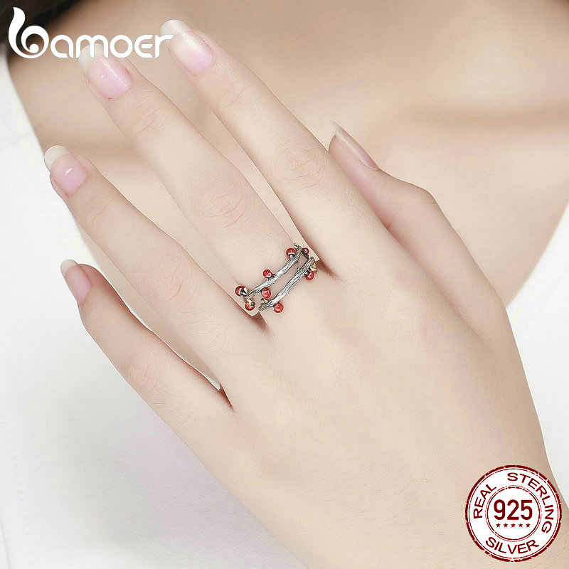 BAMOER réel 925 en argent Sterling automne flétri arbre feuilles réglables bagues pour les femmes bague de mariage bijoux Anel SCR442