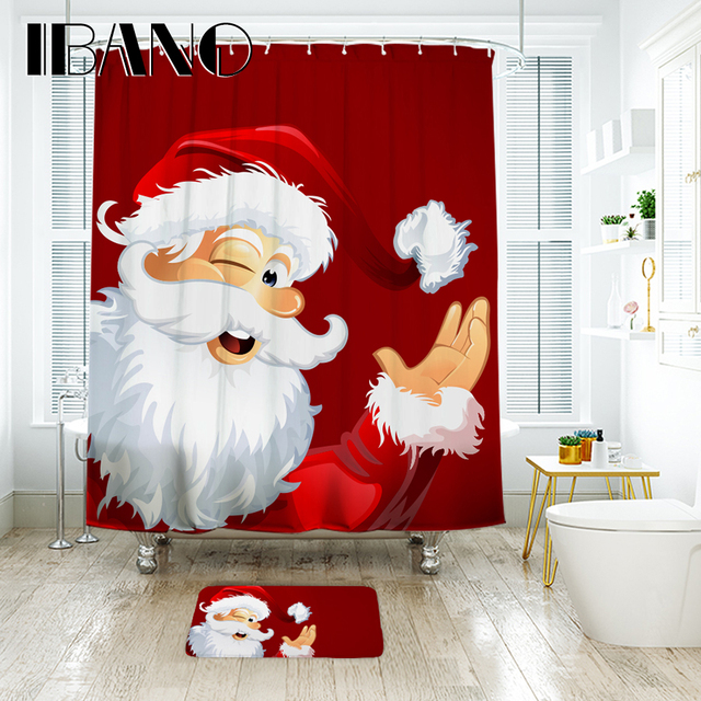 IBANO Christmas Shower Curtain Waterproof Polyester Fabric With 12 Pcs Plastic Hooks Floor Mat Decorations