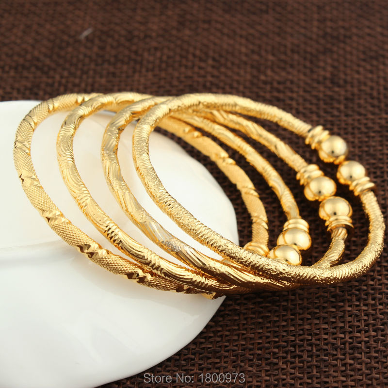 2017 New Dubai Gold Baby Bangle Jewelry For Boys Girls18K Gold Color