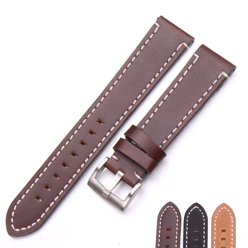 Hand Stitching Vintage Watchbands Men Genuine Leather 18 20 22mm Calfskin Watch Band Strap Metal Buckle Accessories