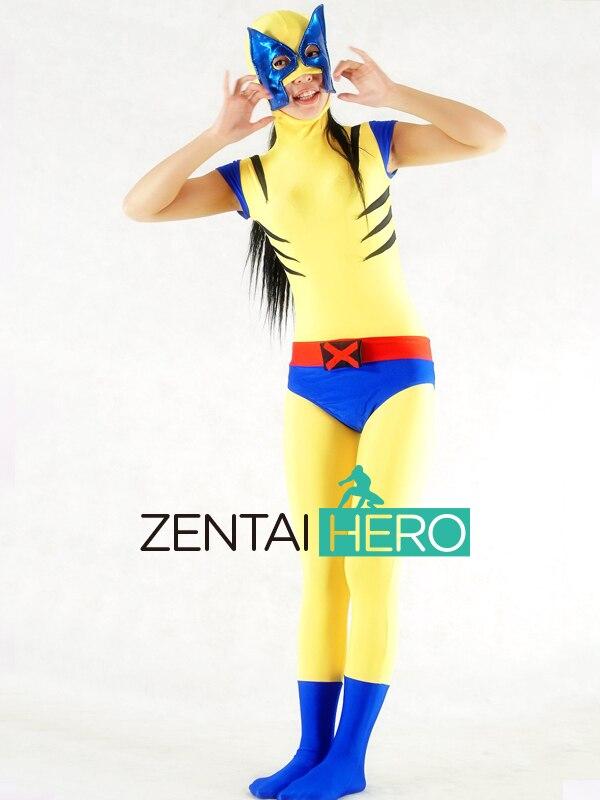 Free Shipping DHL Sexy Sleeveless Wolf Marvel Superhero Zentai Suit Yellow&Blue Lycra Spandex Zentai Suit Open Mouth AXM100