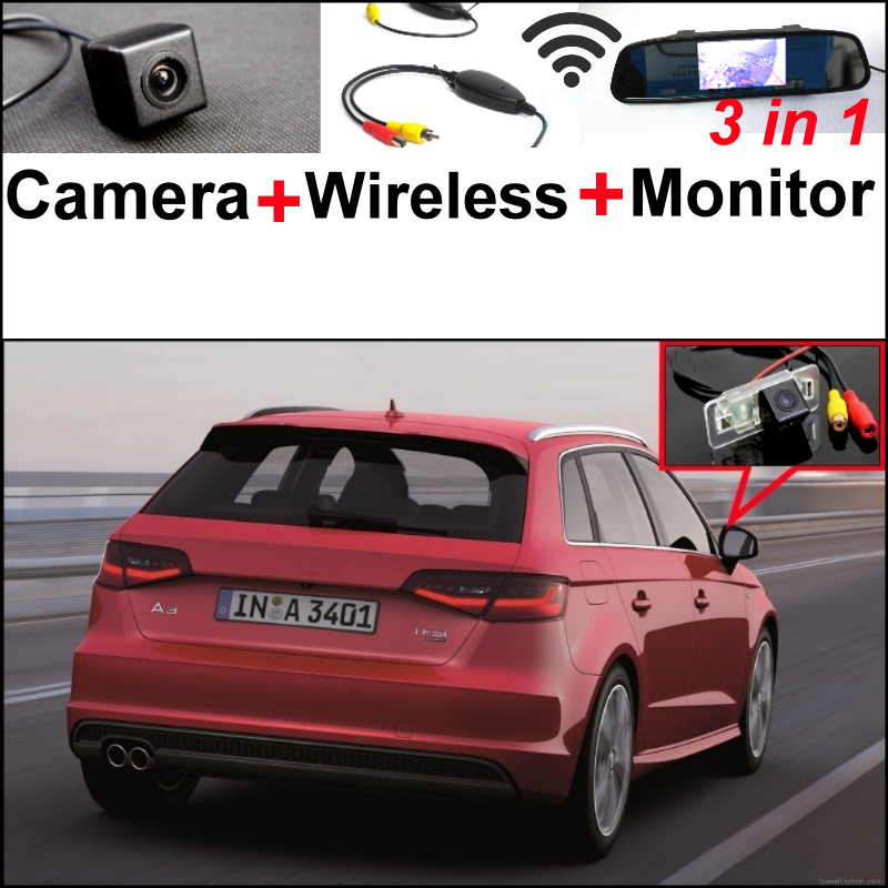 3in1 Special WiFi Camera + Wireless Receiver + Mirror Monitor Easy DIY Parking System For Audi A3 2014~2016 wireless pager system 433 92mhz wireless restaurant table buzzer with monitor and watch receiver 3 display 42 call button