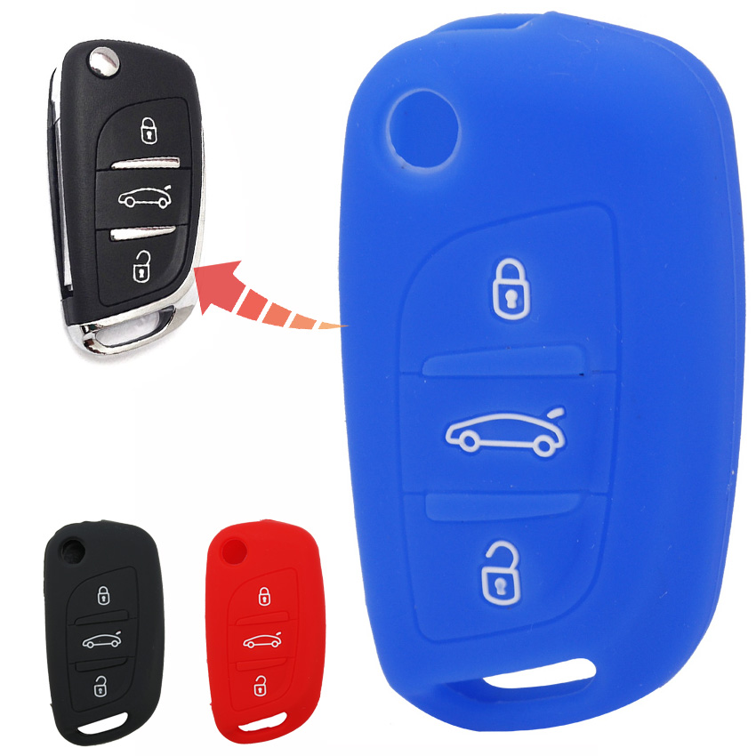 For <font><b>Citroen</b></font> C2 C3 <font><b>C4</b></font> C5 C4L Xsara Picasso Berlingo DS3 DS4 DS5 DS6 <font><b>2016</b></font> CX3 CX-3 Silicone 3 Buttons Remote Car Key Case Cover image
