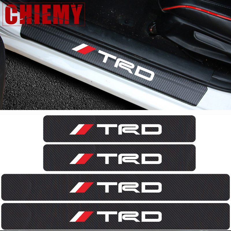 Car Styling 4Pcs TRD Carbon Fiber Door Sill Protector Sticker Car Stickers For Toyota CROWN COROLLA REIZ Auto Accessories