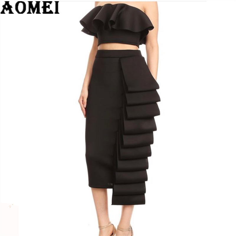 2 Piece Sets Summer For Women Sexy Crop Tops Skirts Off Shoulder Backless Ruffles Club Night Party Wear Slim Jupes Fashion 2020