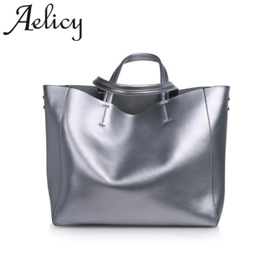 Aelicy Luxury Genuine Leather Handbag Women Large Capacity Soft Cow Leather Totes Bag For Shopping Female Messager Bag S23 lozenge pattern pillow shape female bag genuine cow leather handbag crossbody bolsos golden color for noble lady shopping bag