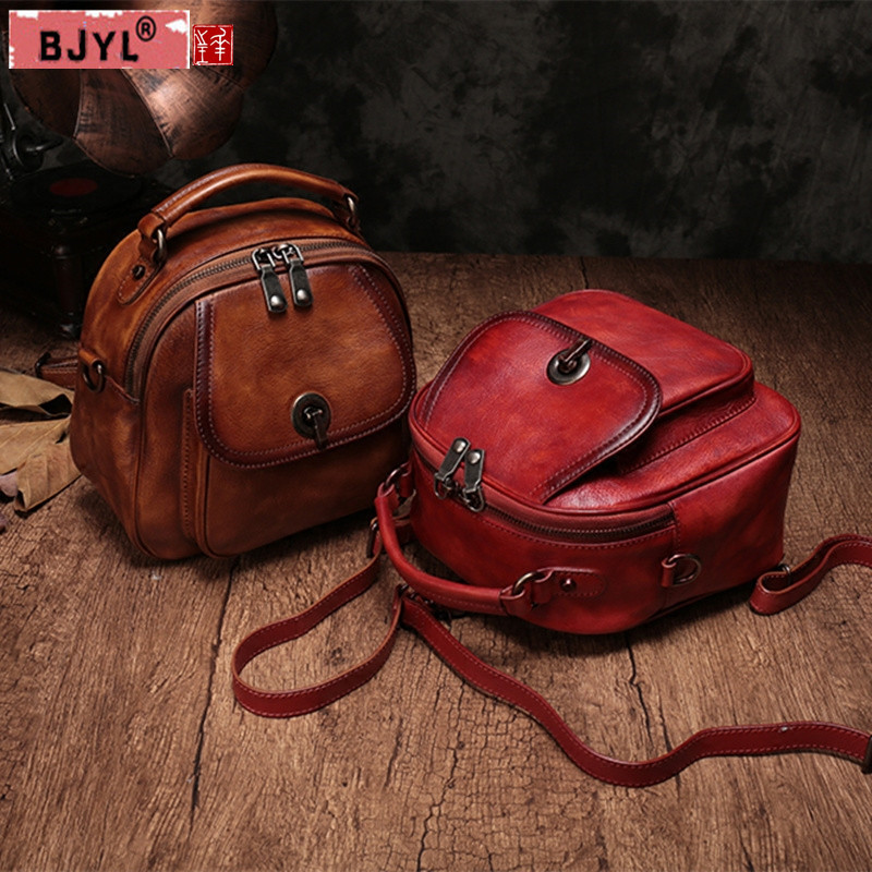 BJYL 2018 new Women Backpacks genuine leather female shoulder bags portable three-use wild soft leather casual small backpack womans backpack black leather genuine mini backpack women 2017 new female small shoulder bags sweet lady backpacks