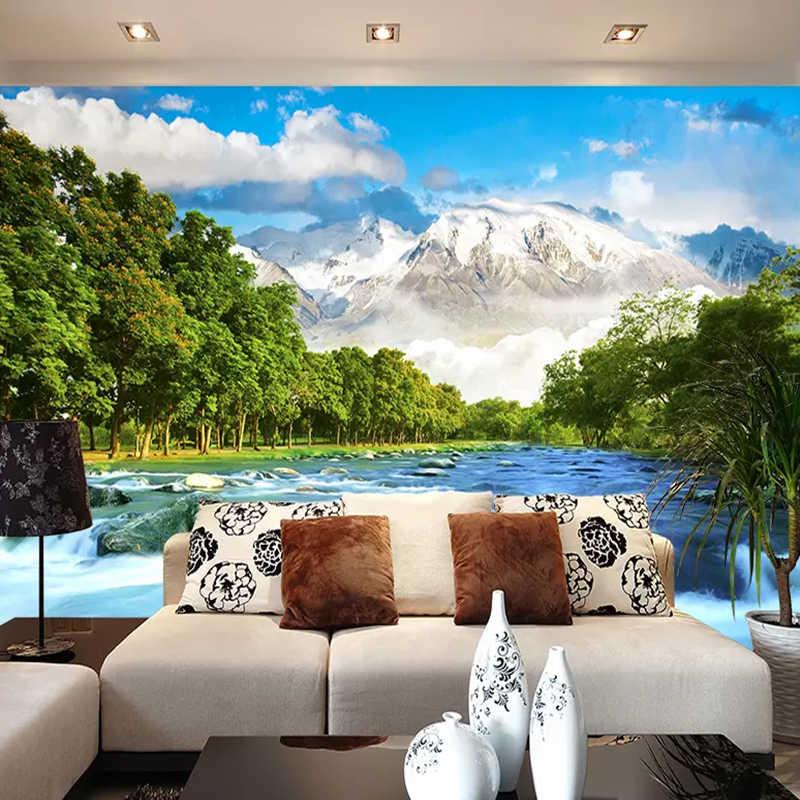 Papel pintado Mural 3D personalizado para pared paisaje de montaña Nevada fondo de fotografía papel pintado para la decoración del dormitorio de la sala de estar