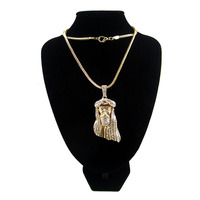 FREE SHIPPING Iced Out JESUS Face Pendant Necklace With 36 Franco Chain Zinc Alloy HipHop Piece