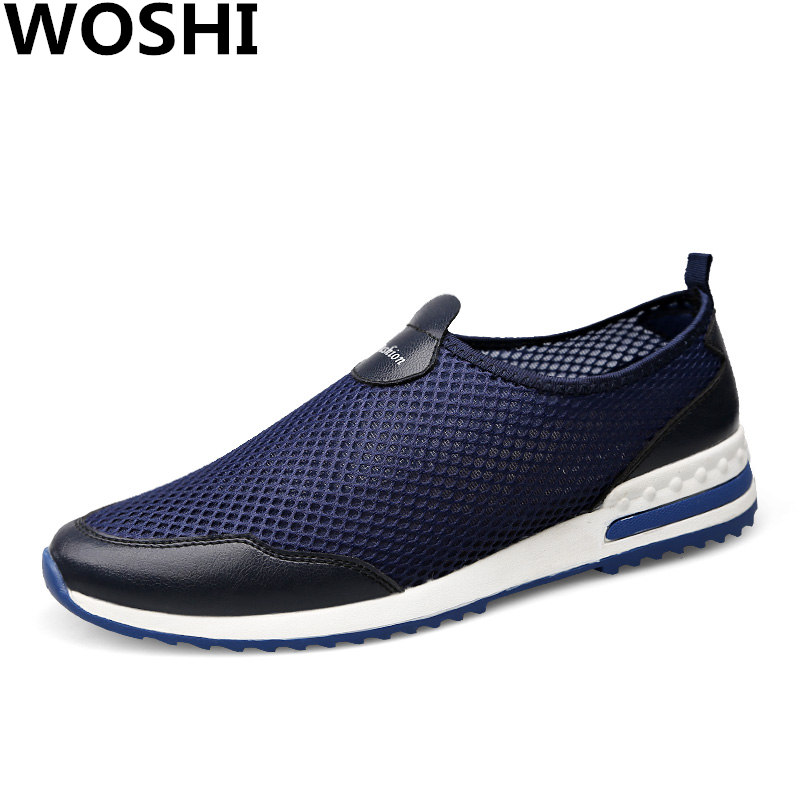 New Summer running sports Shoes men Outdoor genuine leather + air mesh Sneakers light-weight lace-on shoes men big size 37-47 w2