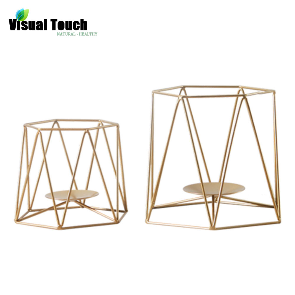 Visual Touch Gold Metal Candle Holders Dinner Table Desk ...