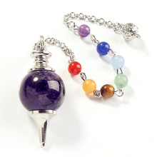 YGB 1 Pcs 18 mm Fashion Natural amethyst  stone Silvery Metal Ball Chain Dowsing Healing Chakra Pendulum Gift