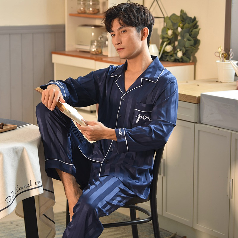 High Quality Silk Satin Casual Striped Pajama Sets For Men 2019 Spring Long Sleeve Soft Comfortable Sleepwear Suit Male Homewear