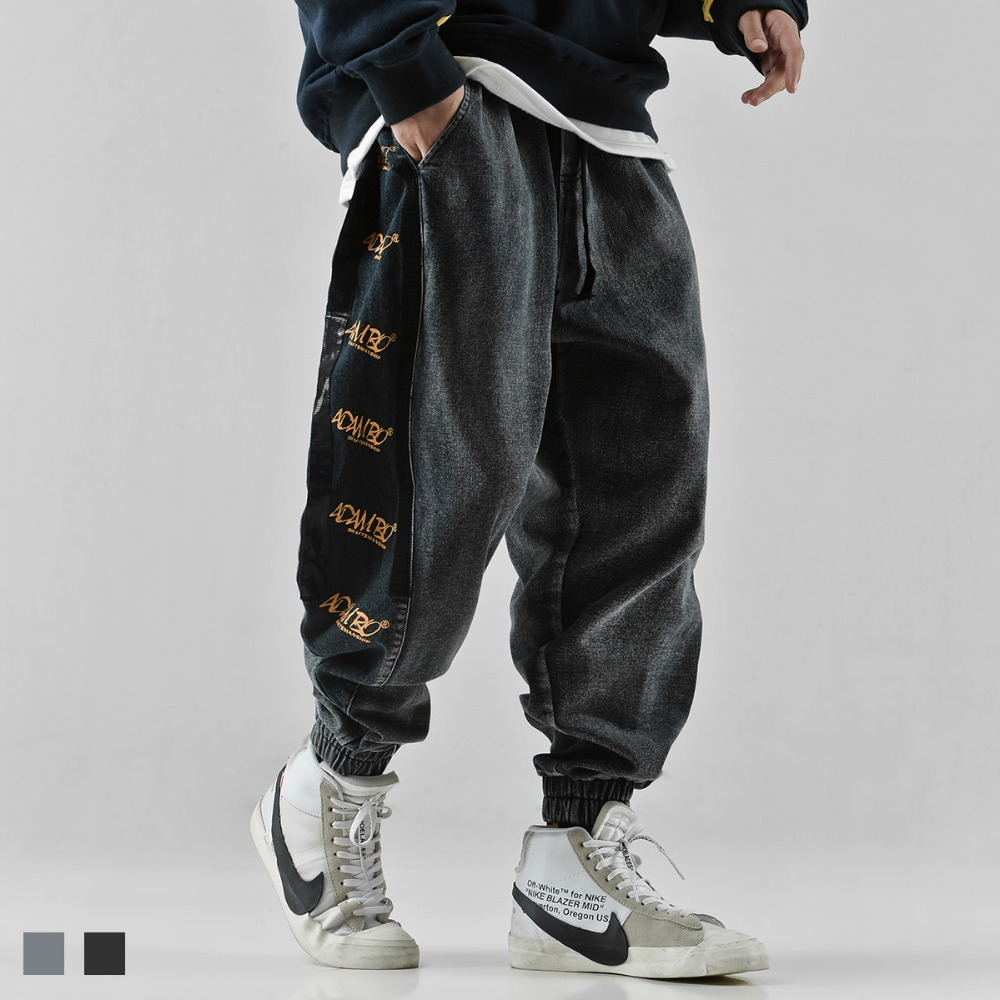 Hip hop   jeans   letter printing trousers loose ankle banded pants western style casual fashion men's pants high street youth