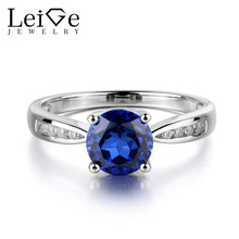 Leige Jewelry Sapphire Engagement Ring Blue Gemstone Round Cut Anniversary Promise Gift for Her 925 Sterling Silver Rings