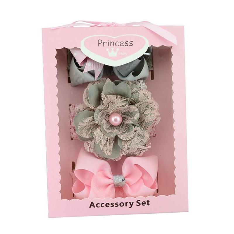 New Kids Hair Band Tie Bow Flower Pattern Head Band Hair Accessories Headwear Gift Box 3pcs/set for Girls Princess Hairband hair tie 3pcs