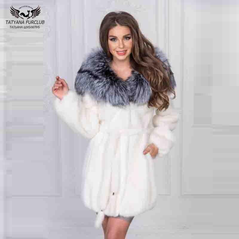 Tatyana Furclub Real Fur Coat New Women Long Coat With Fox Fur Collar Natural Fur With Belt White Fur Coat Mink Jacket Sliver
