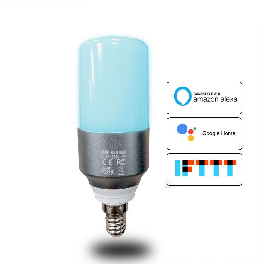 E14 Bougie Lumière WiFi RGBW Led Ampoule Lumière Voix Contrôle par Alexa Echo Google Maison 2.4G WfiFi Contrôle par APP Domotique