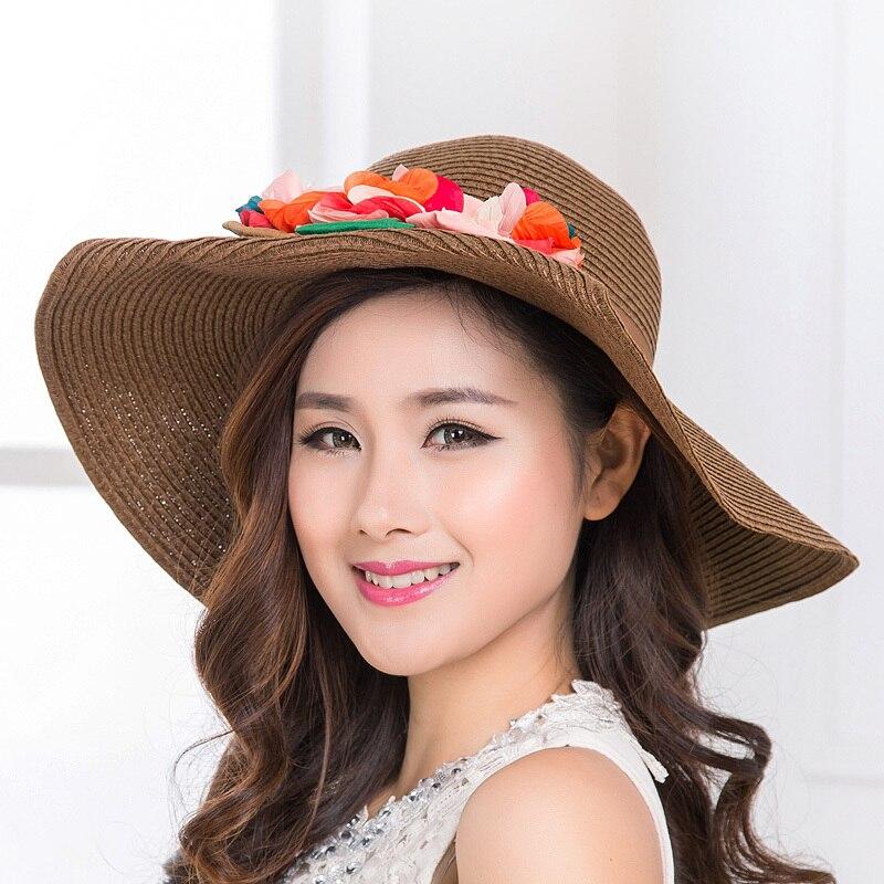 Verano mujer sun sombreros grandes sombreros de playa para mujeres plegable  del sombrero del sol liso y estampado floral wide sol del borde sombreros  para ... c58969ff2bc