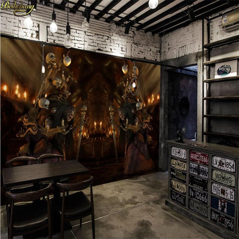 Beibehang Mural Wallpaper For Living Room Wall Paper Backdrop Horror Monster Skull Custom Stereoscopic 3d Photo Wallpaper Roll