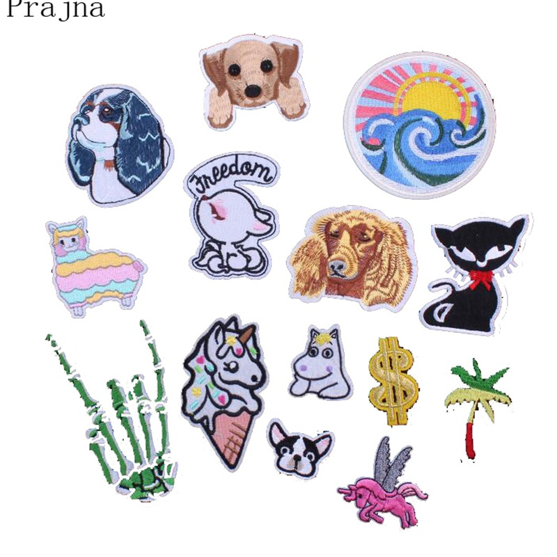 Prajna Service Dog Horse Patch Skeleton Hand Chihuahua Sheep Corgi Patch Cartoon Embroidered Patches Iron On Patches For Clothes