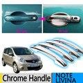 Для Nissan NOTE 2005-2013 E11 LIVINA Chrome Дверные Ручки Материалы 2008 2009 2010 2011 2012 Аксессуары Наклейки Автомобилей укладки