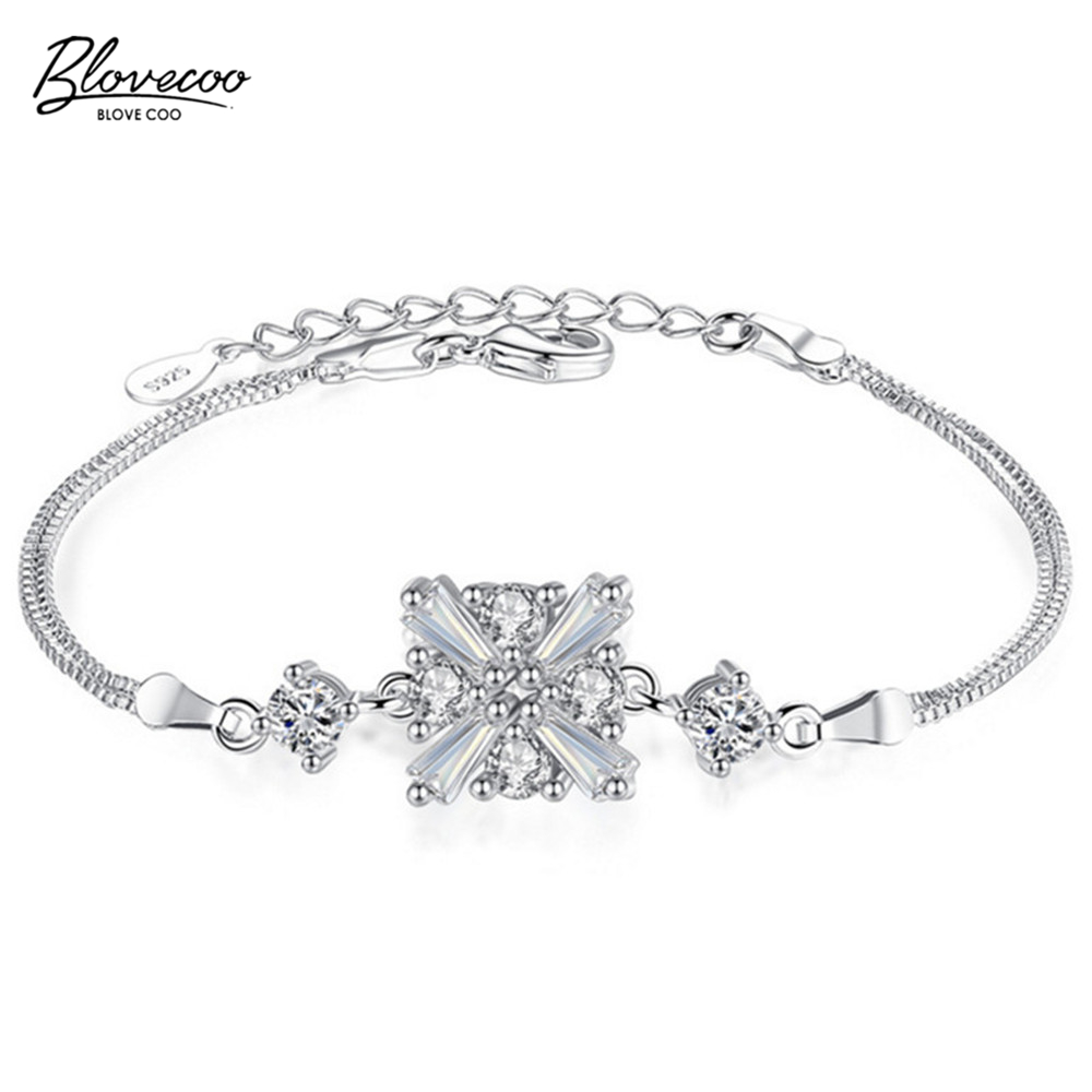 BLOVECOO Luxury AAA zircon silver bracelet female cute hand ...