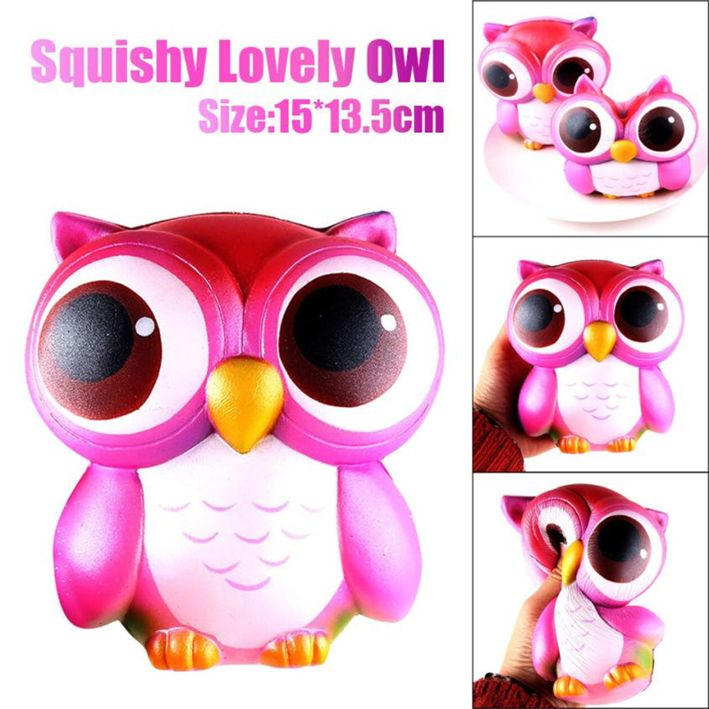 15cm Jumbo Cartoon Lovely Pink Blue Owl Cream Scented Squishy Toys For Children Antistress Slow Rising Squeeze Collection In Mobile Phone Straps From