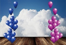 Laeacco Sky Clouds Balloons Wooden Floor Scene Photography Backgrounds Customized Photographic Backdrops For Photo Studio