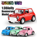 1:38 Diecast Aolly Vehicles 4Classic Model Aolly Lighting Toy Metal Car Toy Model Miniature Pull Back Doors Openable Boomerang