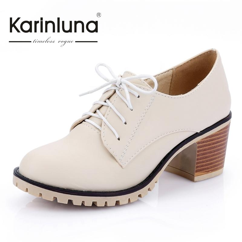 ФОТО Large size 34-43 Vintage Chunky Heels Solid Lace Up Spring Autumn Summer Casual Platform Pumps Female Round Toe Platform Pumps