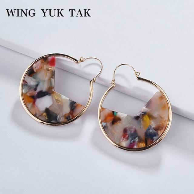 wing yuk tak Vintage Resin Hoop Earrings Simple Fashion Round Statement Earrings For Women