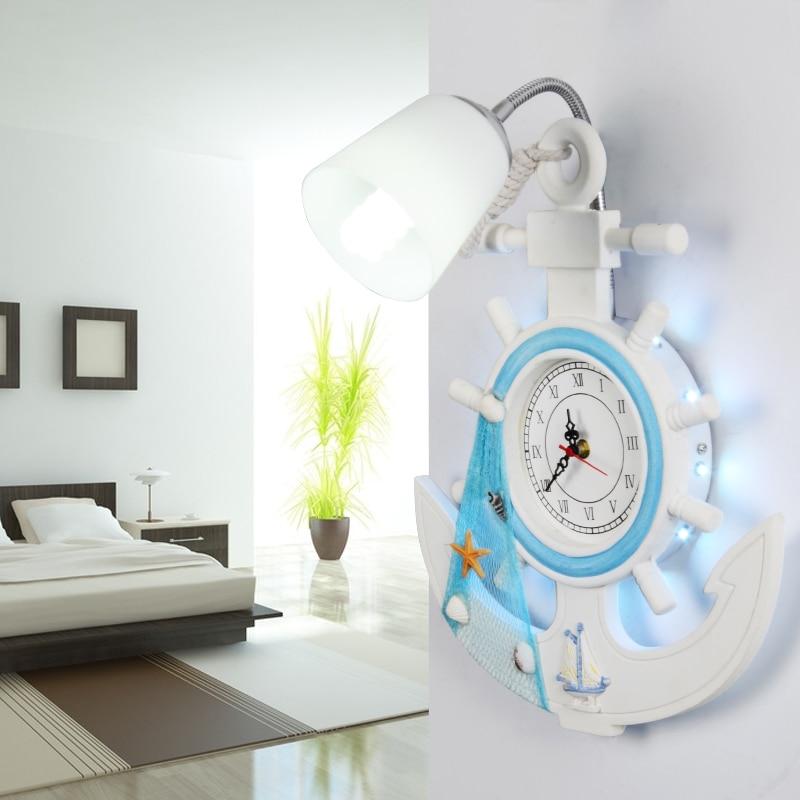 Créatif Mer Méditerranée Style Horloge Dépoli Abat-Jour En Verre Lampe Murale pour Enfants Chambre Mur Éclairage De Chevet Appliques murales
