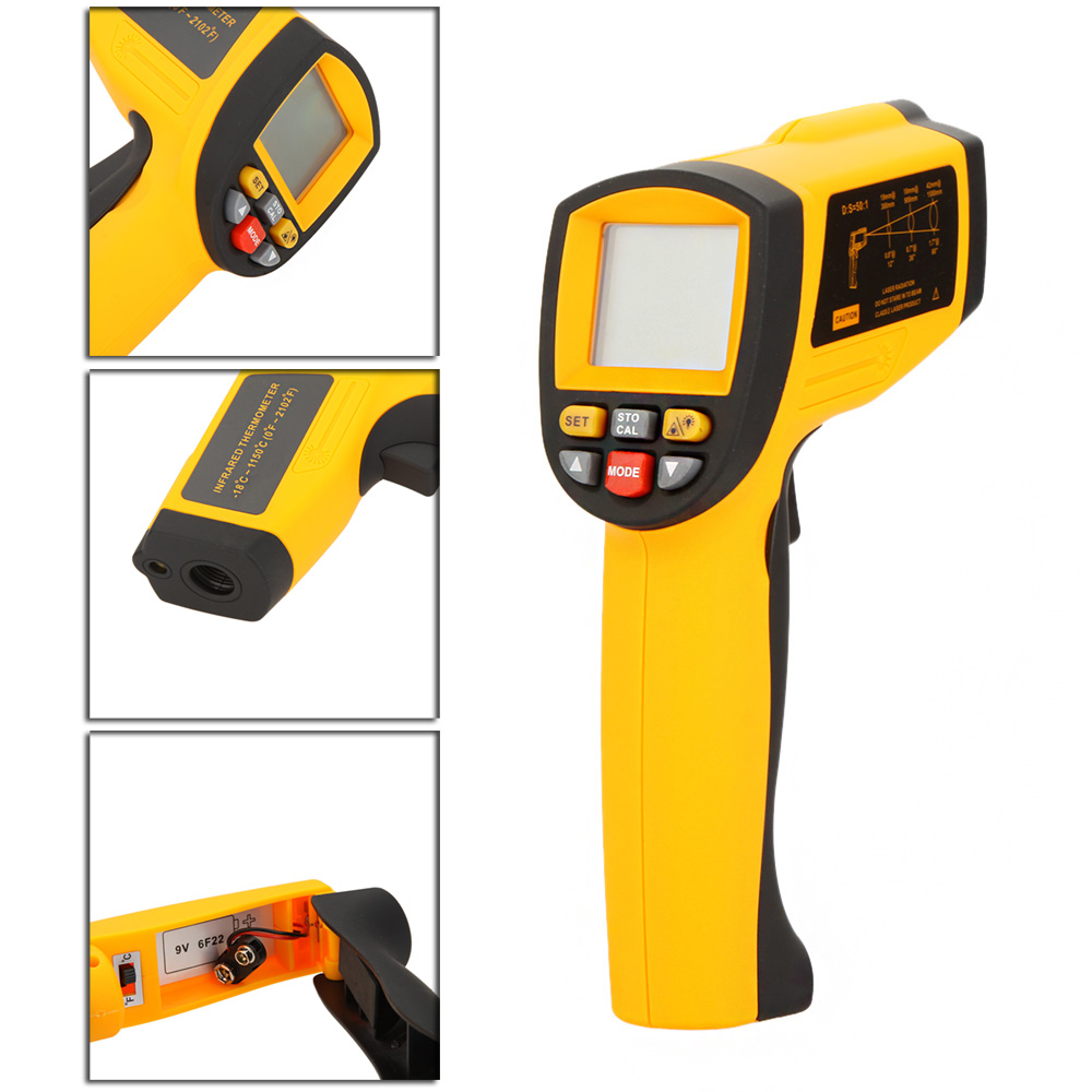 GM1150A Non-Contact 50:1 Digital Infrared IR Thermometer Laser Temperature Gun Tester Range -18~1150? (0~2102?) with LCD Backlit holdpeak hp 1320 digital laser infrared ir thermometer gun meter non contact 50 1500c temperature tester pyrometer